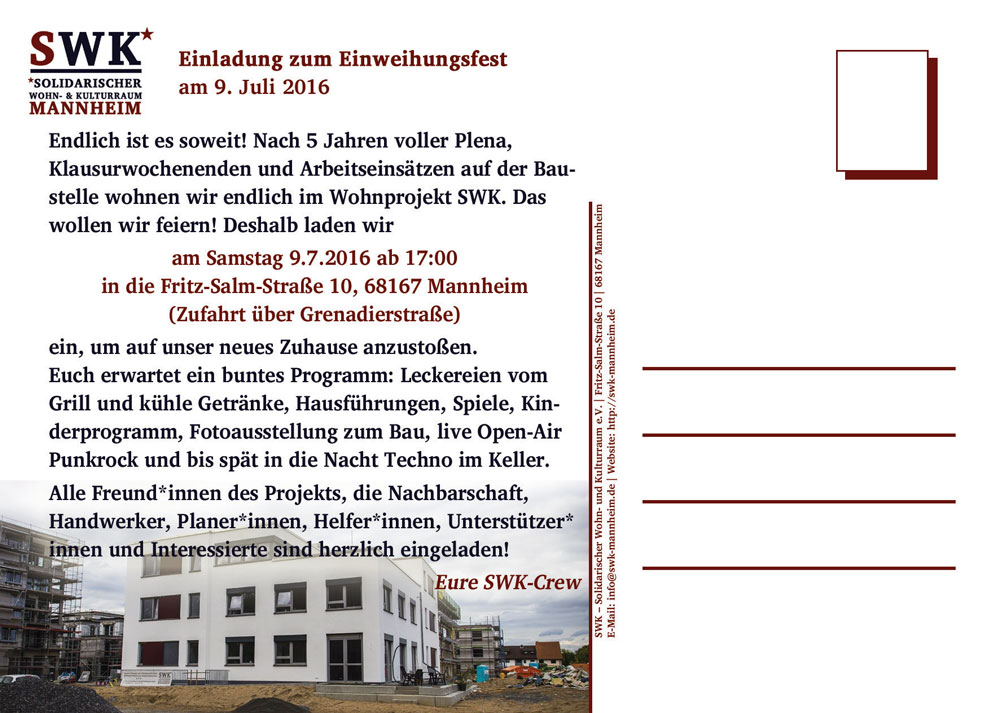 einladung zum einweihungsfest – swk – solidarischer wohn- und, Einladung